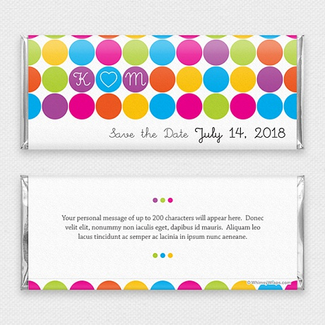Photo of Rainbow Dots (Save the Date) - with Hershey Milk Chocolate Bar (45g)