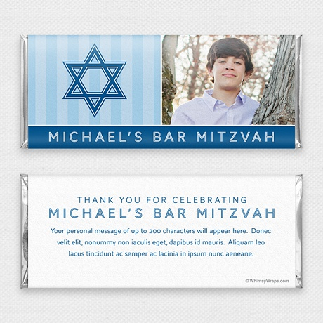 Photo of Striped Mitzvah (Blue) - with Hershey Milk Chocolate Bar (45g)