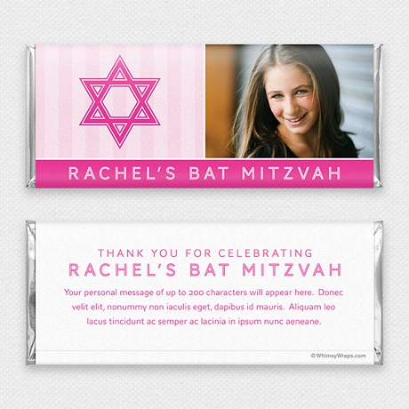 Photo of Striped Mitzvah (Pink) - with Hershey Milk Chocolate Bar (45g)