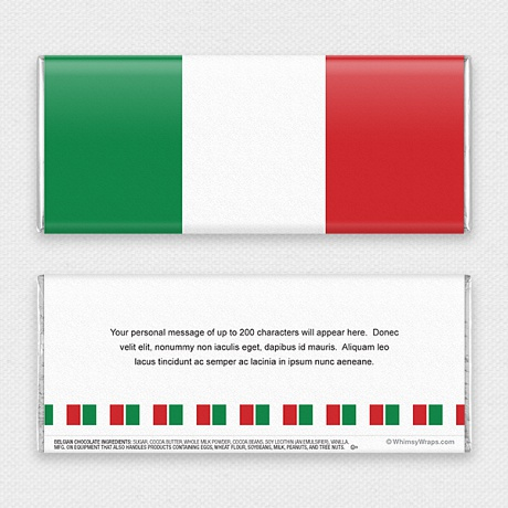 Photo of Italian Flag - with Belgian Milk Chocolate Bar (45g)