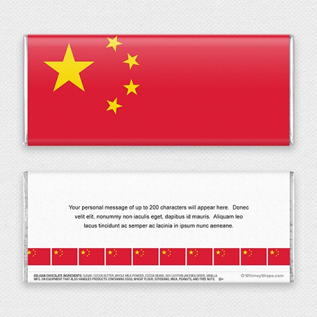 Photo of Chinese Flag - with Belgian Milk Chocolate Bar (45g)